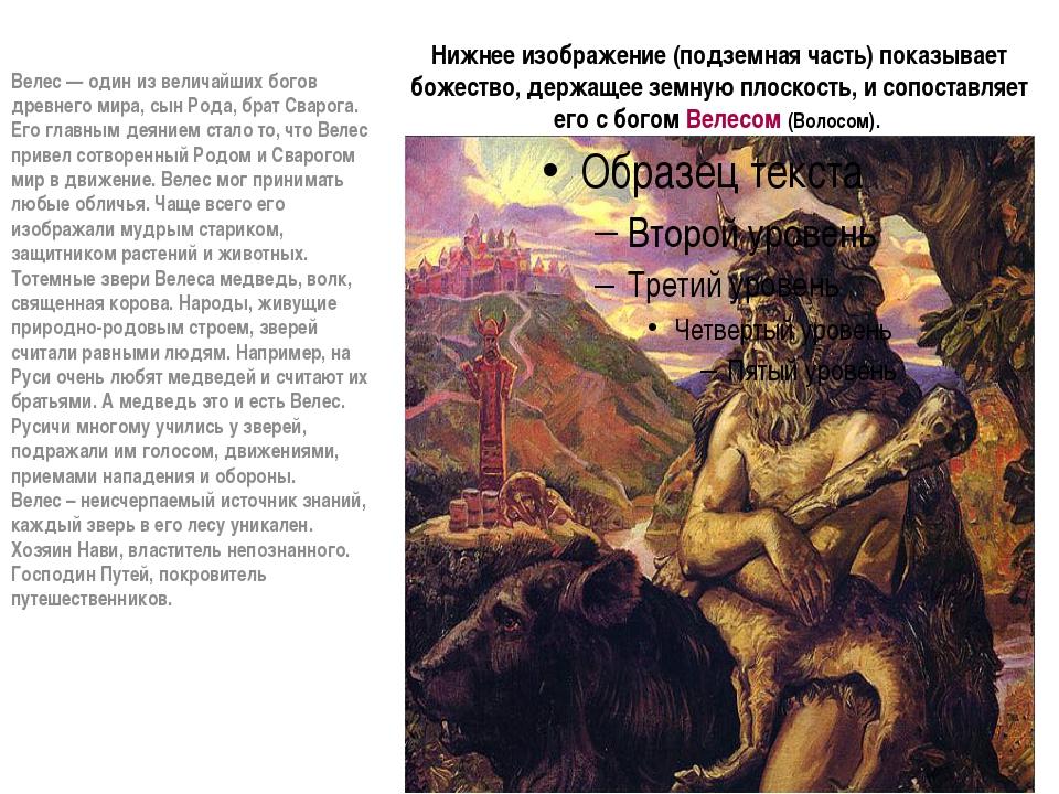 Нижнее изображение (подземная часть) показывает божество, держащее земную пло...