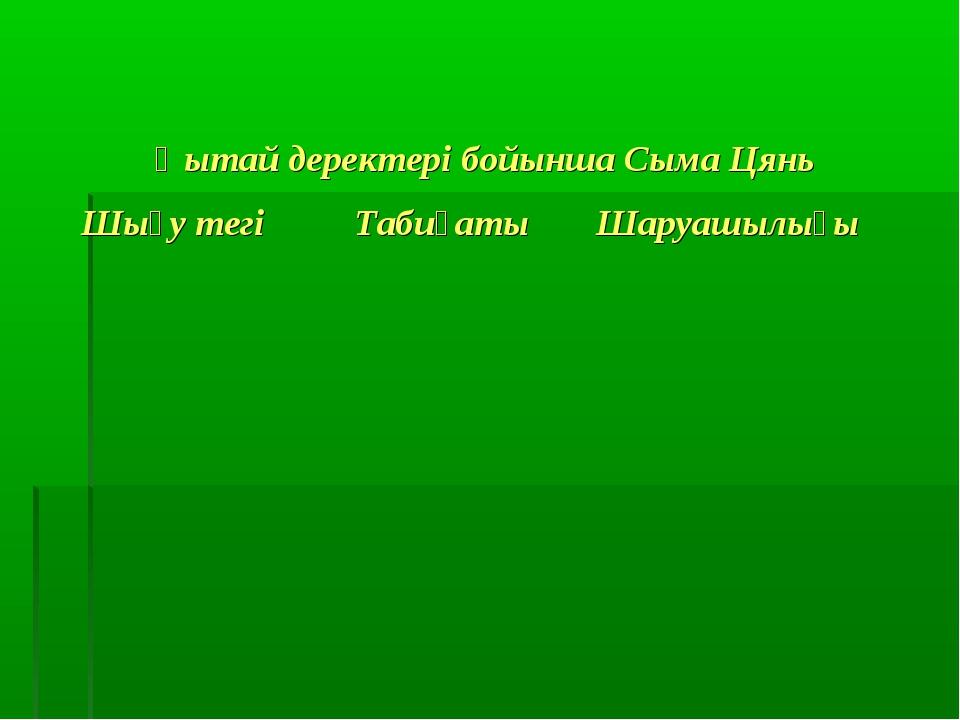 Қытай деректері бойынша Сыма Цянь Шығу тегіТабиғатыШаруашылығы