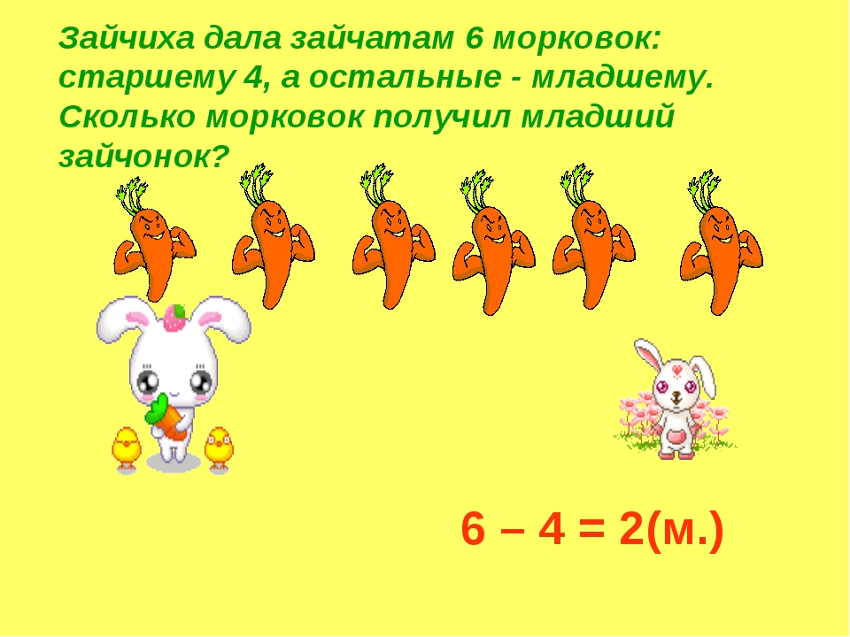 Зайчиха дала зайчатам 6 морковок: старшему 4, а остальные - младшему. Сколько...