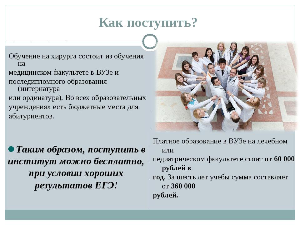 Как поступить? Обучение на хирурга состоит из обучения на медицинском факульт...