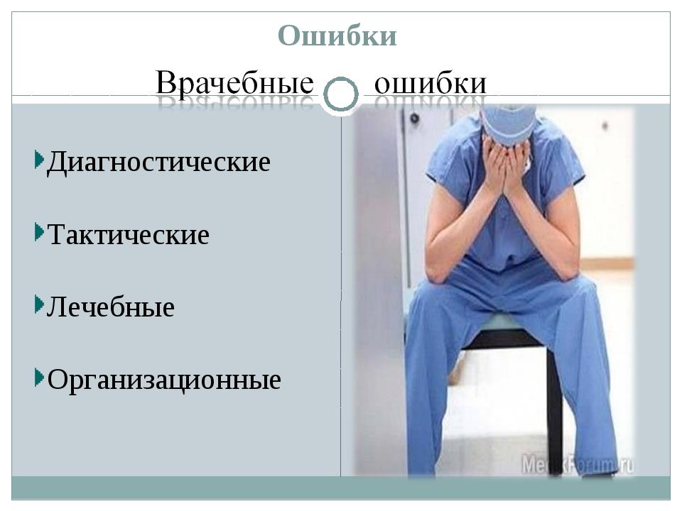 Ошибки Диагностические Тактические Лечебные Организационные