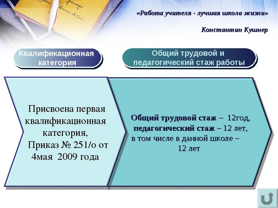 Квалификационная категория Общий трудовой и педагогический стаж работы «Работ...