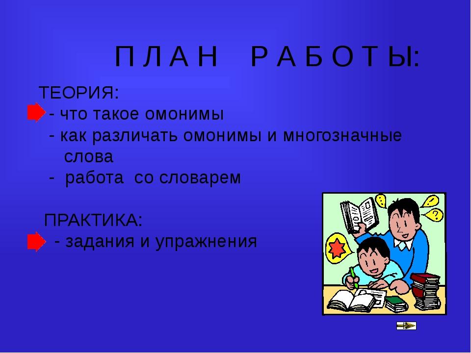 П Л А Н Р А Б О Т Ы: ТЕОРИЯ: - что такое омонимы - как различать омонимы и мн...