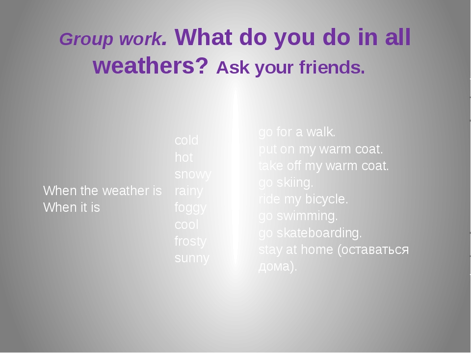 Group work. What do you do in all weathers? Ask your friends. When the weath...