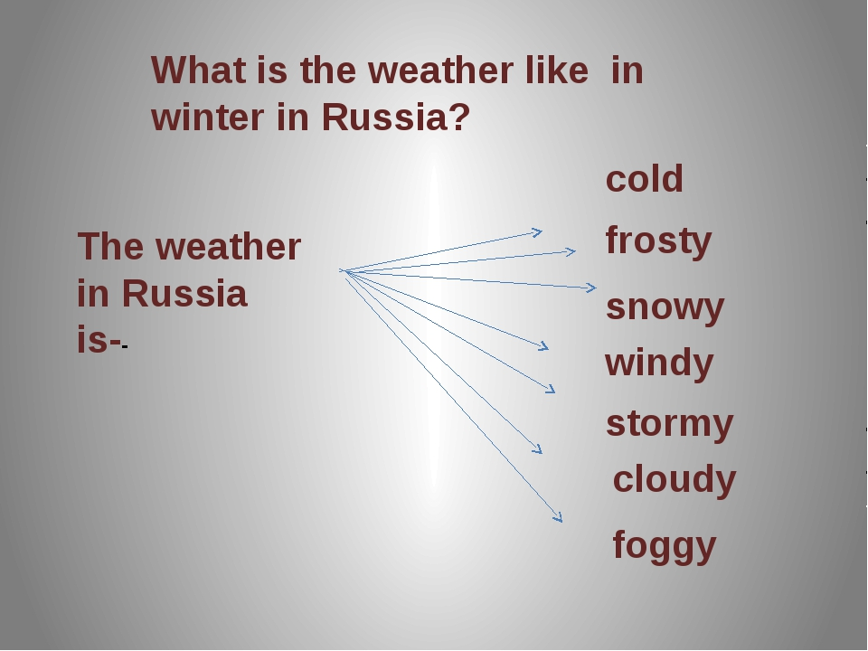 What is the weather like in winter in Russia? The weather in Russia is-- cold...